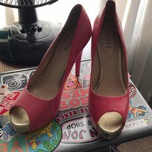 hot pink guess high heels